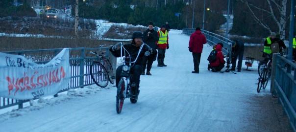 Winter Bike to Work Day Toivoniemessä 14.02.2014. Kuva Tapani Launonen.